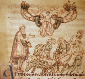 Young Cuthbert has a vision of Bishop Aidan's soul being carried to heaven by angels. From the margin of a copy of Bede's Life of Cuthbert.